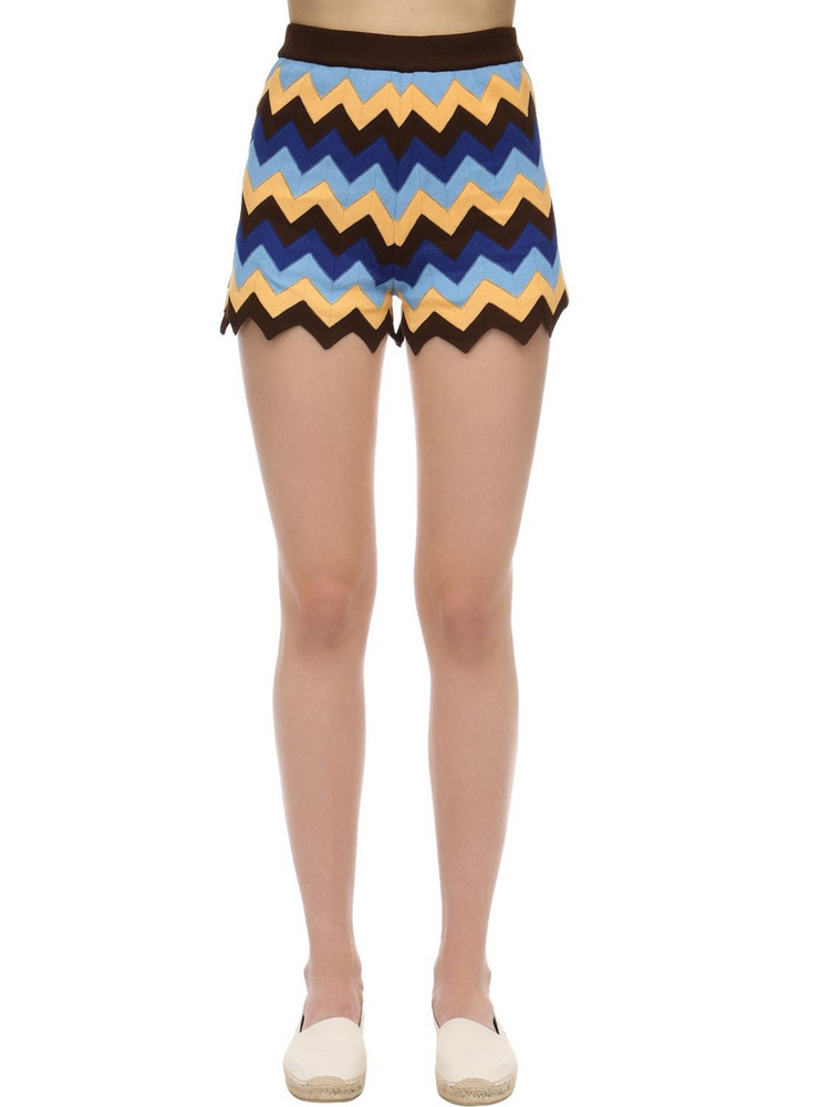 M MISSONI Cotton Rib Knit Shorts in brown / yellow