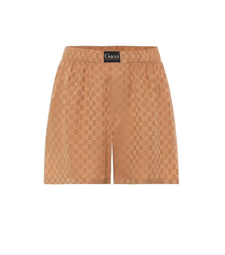 Gucci Silk-crêpe GG-jacquard shorts in brown