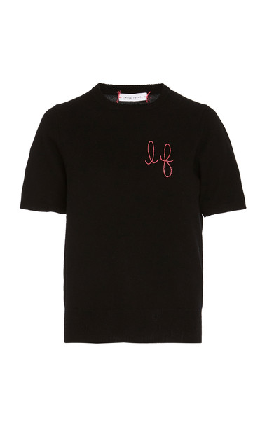 Lingua Franca Monogrammed Short-Sleeve Cashmere Sweater With Hot Pink in black