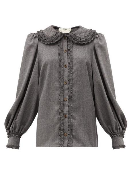 Fendi - Ruffled Trim Wool Flannel Shirt - Womens - Dark Grey