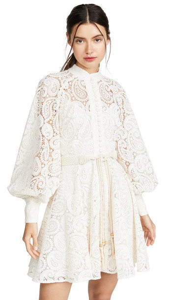 Zimmermann Amari Paisley Lace Short Dress in ivory