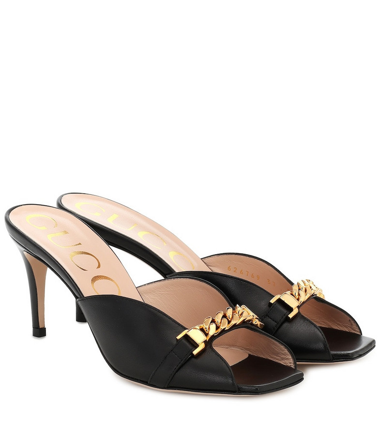 Gucci Embellished leather sandals in black