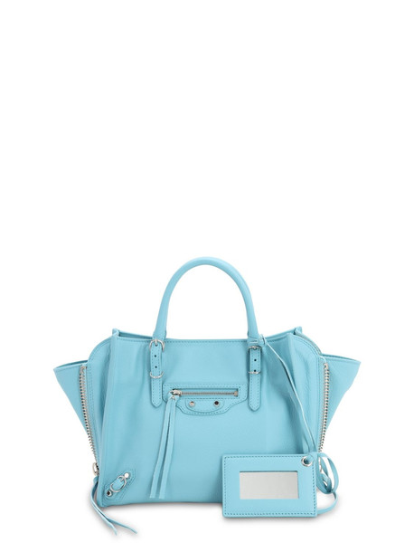 BALENCIAGA Mini Papier A4 Leather Tote Bag in blue