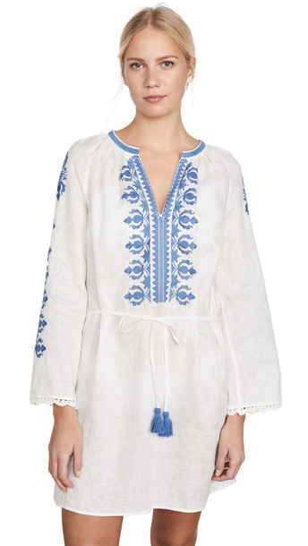 Tory Burch Embroidered Linen Dress in ivory