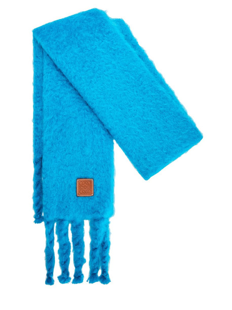 LOEWE Knit Mohair Blend Fringed Scarf in blue