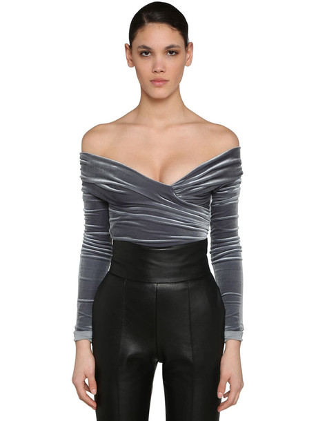ALEXANDRE VAUTHIER Off Shoulder Stretch Velvet Bodysuit in grey