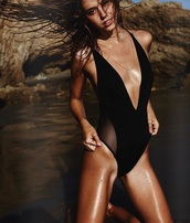 swimwear,alexis ren,black,black bathingsuit