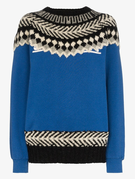 Rentrayage The Outlaw King Fair Isle jumper in blue