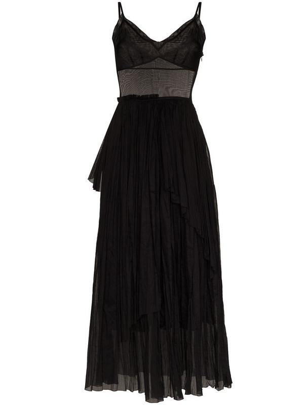 Vika Gazinskaya sheer pleated flared dress in black