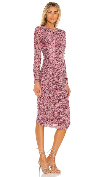 Michael Costello x REVOLVE Shirred Midi Dress in Mauve in pink