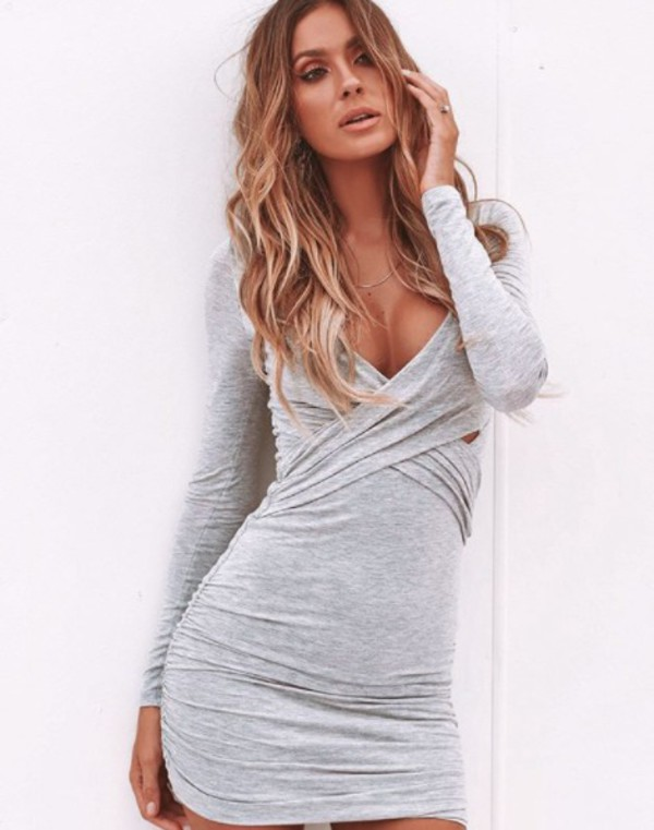 dress grey long sleeves mini bodycon winter outfits cross over dress