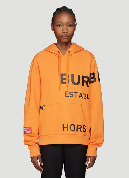 Burberry Poulter Logo Print Hooded Sweatshirt in Orange size S