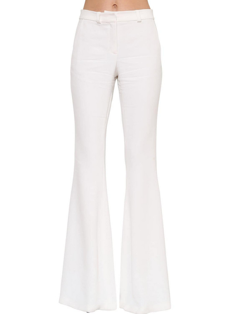 AZZARO High Waist Stretch Cady Flared Pant in white