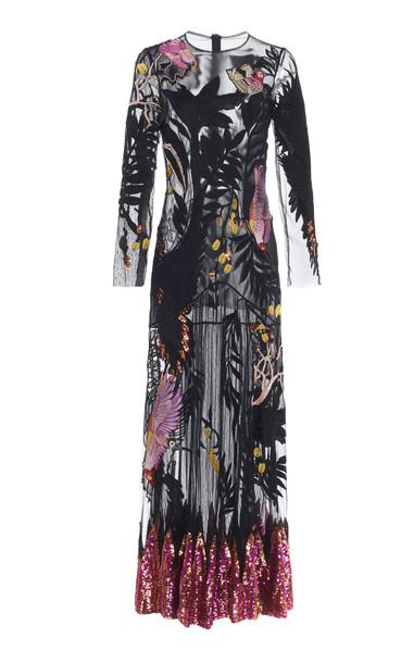 Temperley London Opera Tattoo Mesh Dress Size: 14 in black