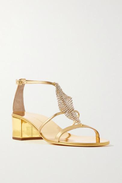 Giuseppe Zanotti - Crystal-embellished Metallic Leather Sandals - Gold