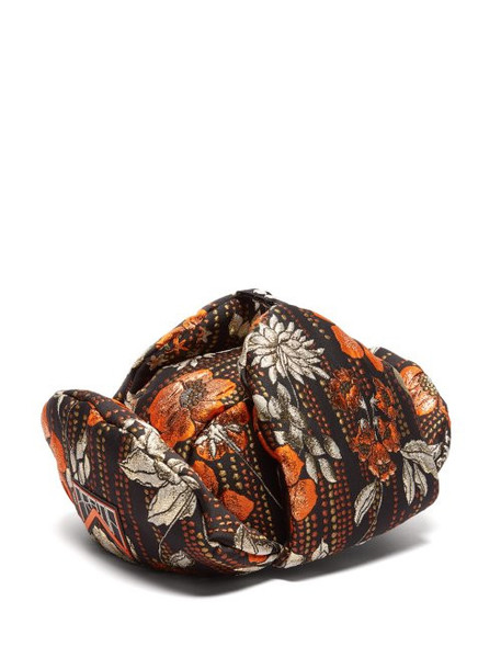 Prada - Floral Jacquard Broacade Trapper Hat - Womens - Orange