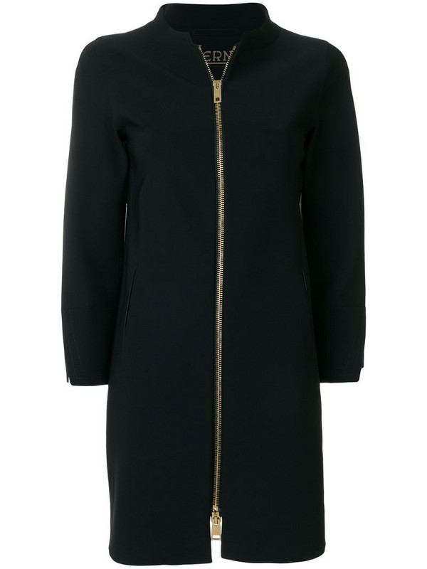 Herno straight-fit zip up coat in blue