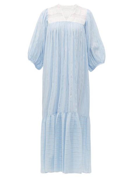 Love Binetti - Striped Lace Panel Cotton Dress - Womens - Light Blue