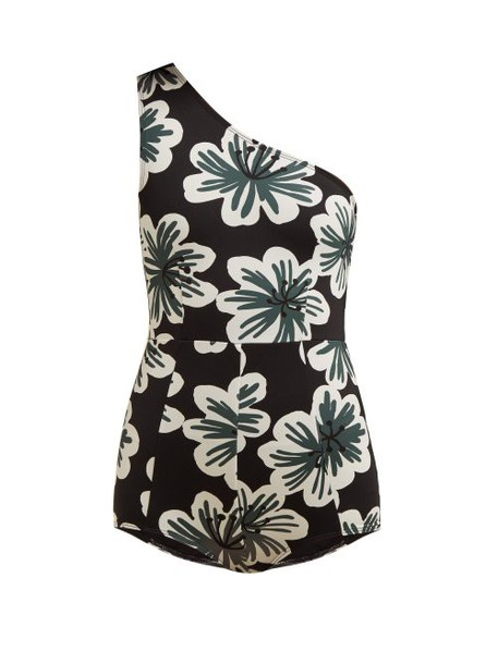 Dodo Bar Or - Galina Floral Print One Shoulder Swimsuit - Womens - Black Print