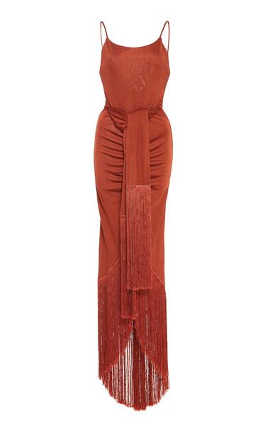 Cult Gaia Natalia Maxi Fringe Jersey Dress Size: XS in orange