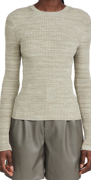 Vince Marled Rib Crew Sweater in white