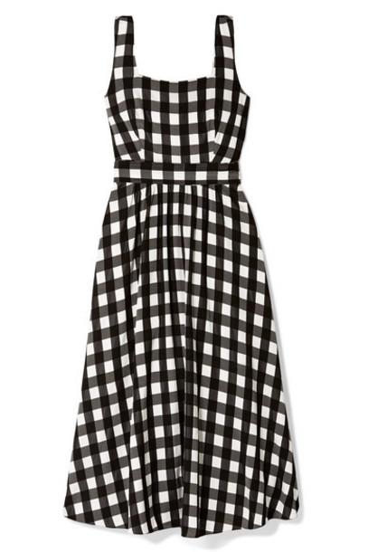 Temperley London - Stirling Belted Checked Satin Midi Dress - Black