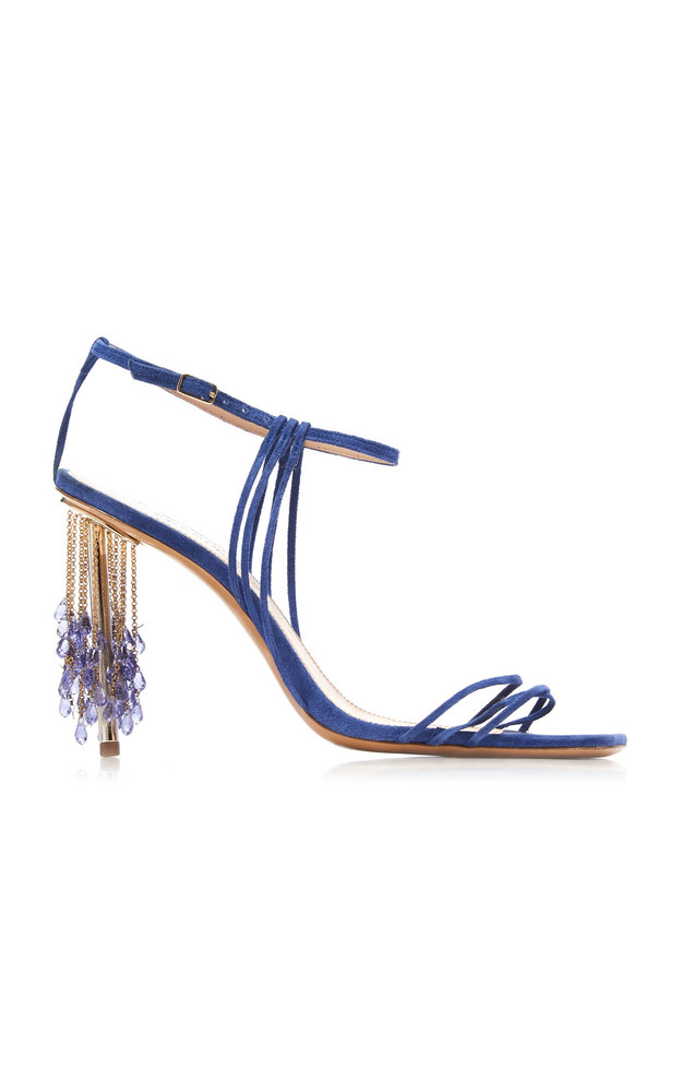 Jacquemus Raphia Embellished Strappy Suede Sandals Size: 37 in blue