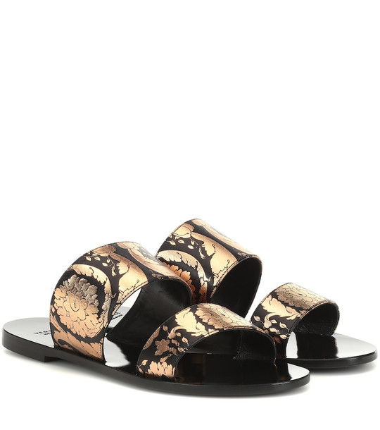 Versace Printed leather sandals in black