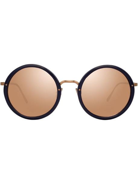 Linda Farrow mirrored round-frame sunglasses in blue