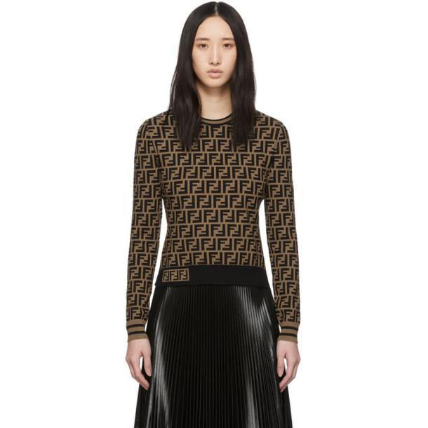 Fendi Brown Knit Forever Fendi Sweater