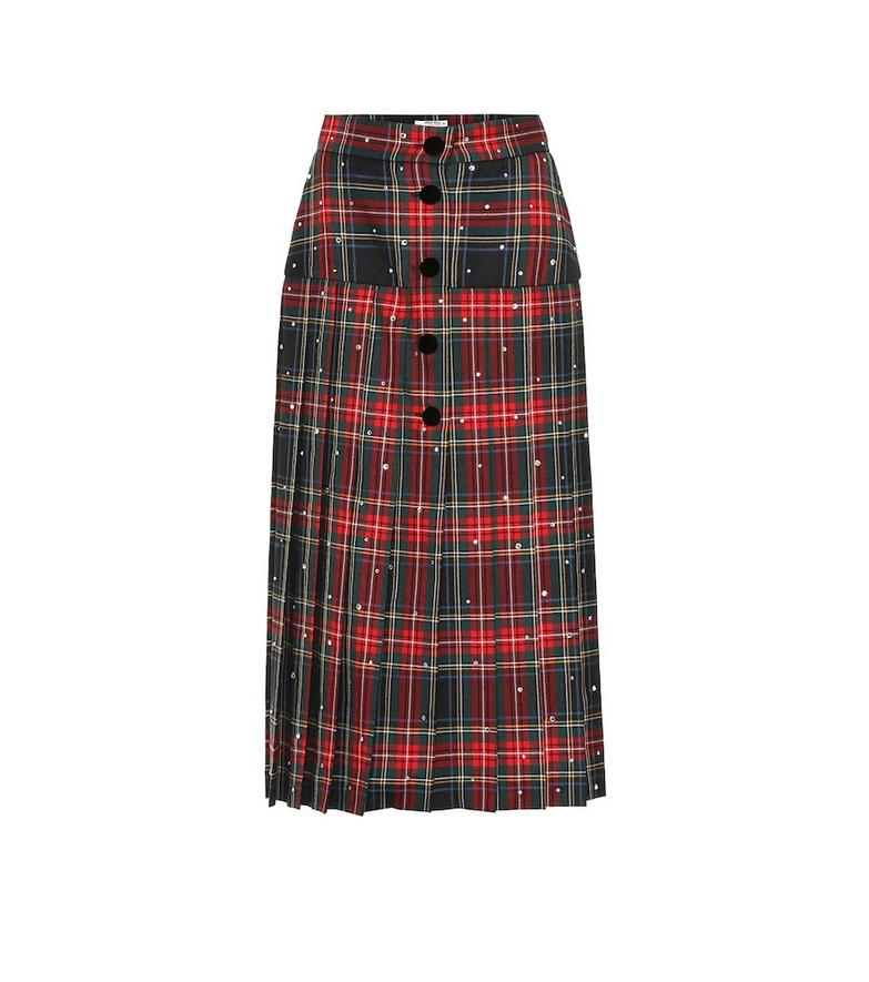 Miu Miu Embellished tartan wool midi skirt