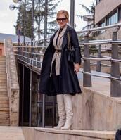 shoes,white boots,knee high boots,zara,navy coat,carolina herrera,blazer,skinny jeans,gucci belt,shoulder bag