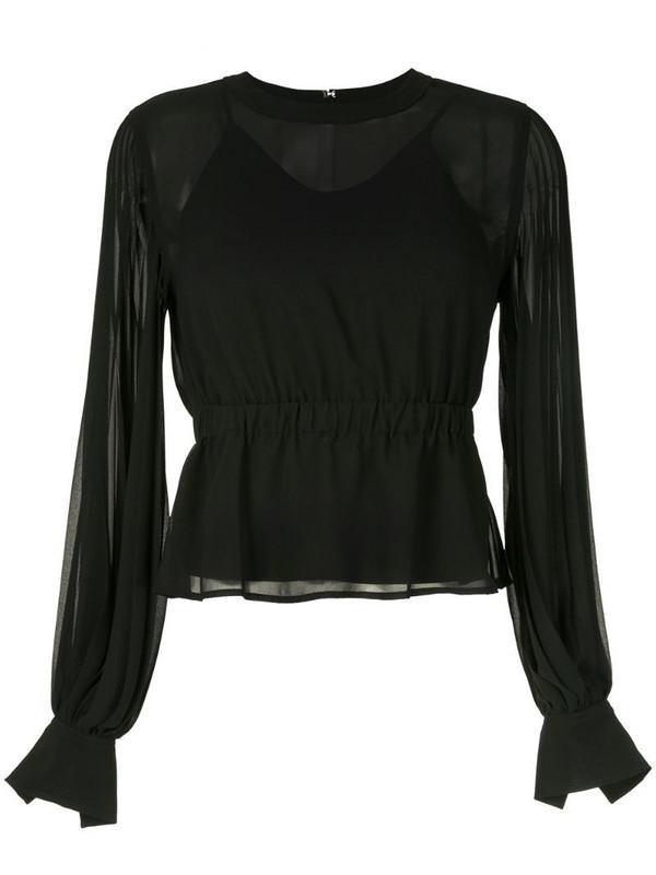 CK Calvin Klein pleated long-sleeve blouse in black