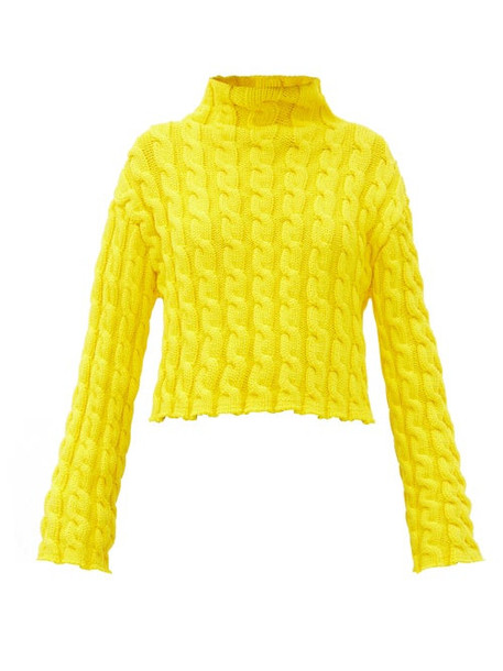 Balenciaga - Cropped Cable-knit Sweater - Womens - Yellow