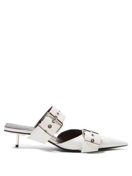 Balenciaga - Belt Buckle Leather Mules - Womens - White