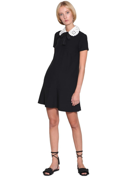 RED VALENTINO Crepe Mini Dress W/ Eyelet Lace Collar in black