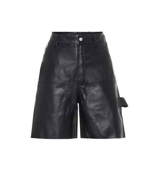 Unravel Leather shorts in black