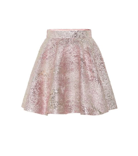 Dolce & Gabbana High-rise jacquard miniskirt in pink