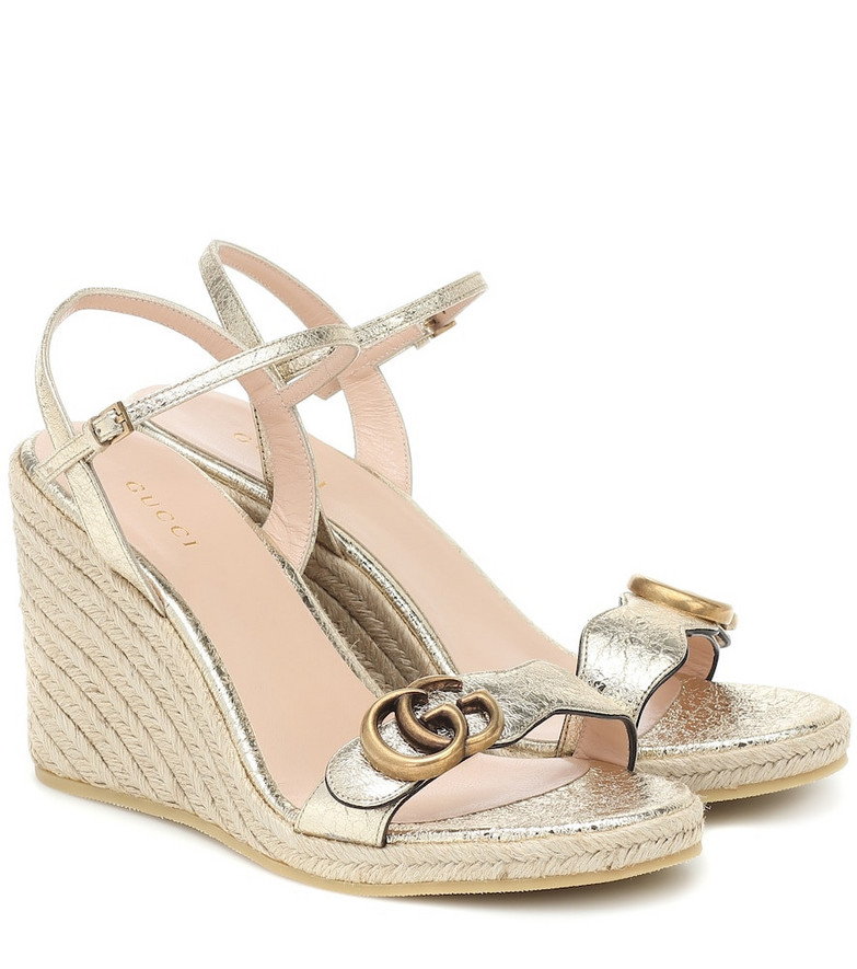 Gucci Double G leather espadrille wedges in gold