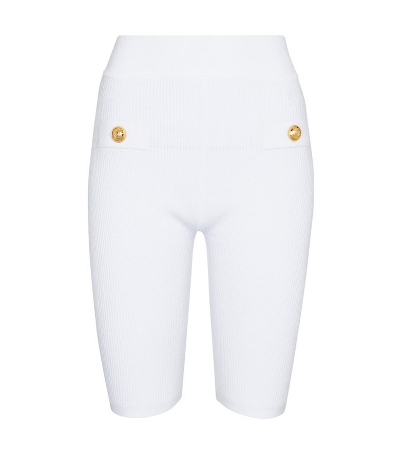 Balmain Ribbed-knit biker shorts in white