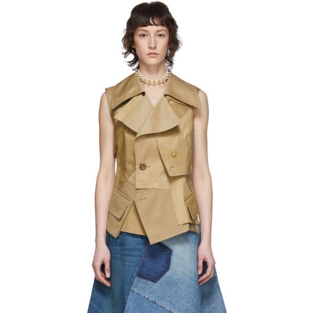 Junya Watanabe Beige Cotton Twill Vest