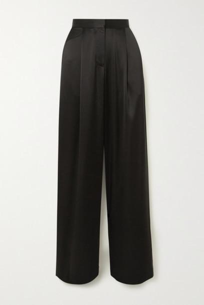Matteau - Satin Wide-leg Pants - Black