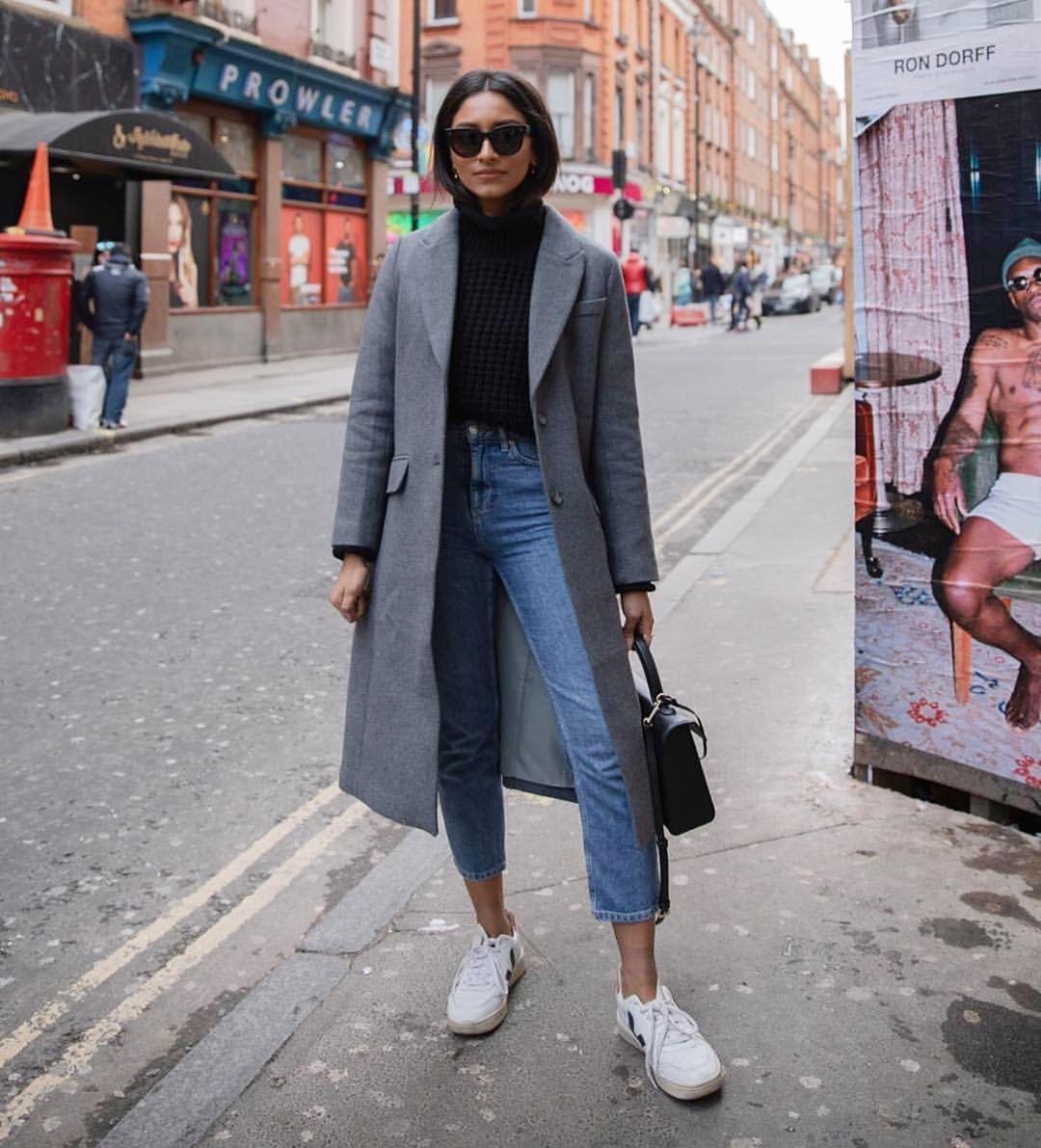 coat long coat wool coat h&m white sneakers straight jeans topshop black sweater turtleneck sweater black bag sunglasses