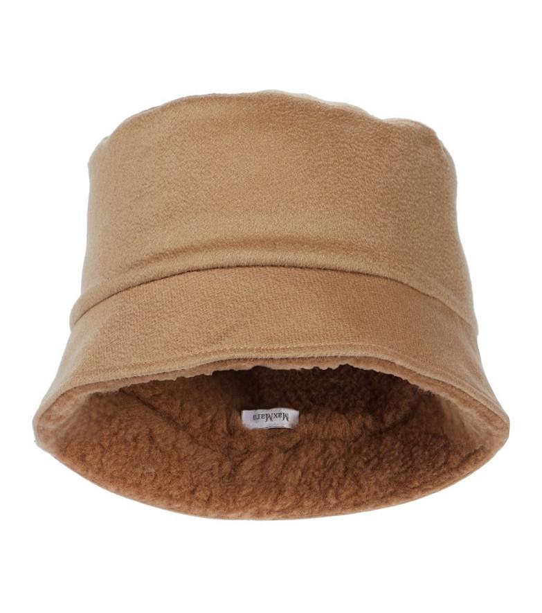 Max Mara Logo cashmere bucket hat in brown