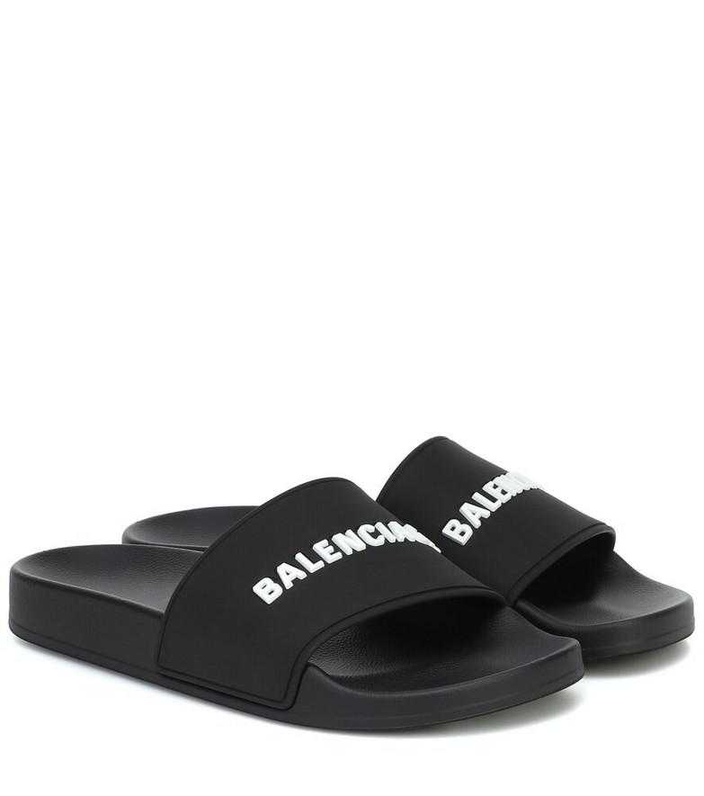 Balenciaga Logo slides in black