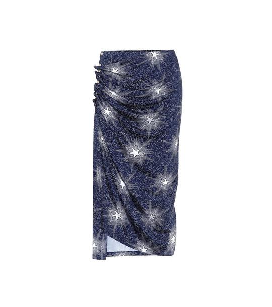 Paco Rabanne Printed jersey midi skirt in blue