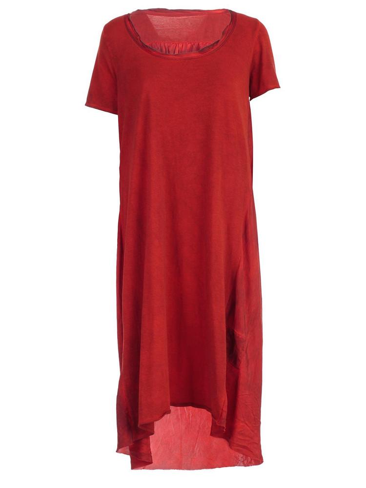 Uma Wang Dress S/s Round Neck Two Fabrics in red