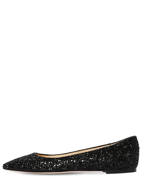 JIMMY CHOO 10mm Mirele Glittered Flats in black