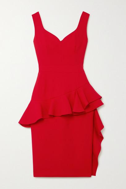 ALEXANDER MCQUEEN - Ruffled Wool-blend Peplum Dress - Red