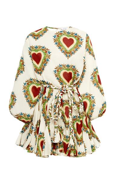 Rhode Ella Tie-Waist Cotton Mini Dress Size: M in white